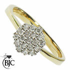 BJC® 9ct Yellow Gold Diamond 0.19ct size N Cluster Engagement ring R110