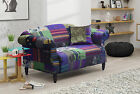 Brand New 2 Seater Anna Shout Fabric Patchwork Sofa in Printed Crushed Velvet