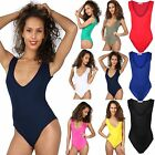 New Womens V-Neck Sleeveless Plain Stretch Leotard Top Ladies Bodysuit 8 - 14