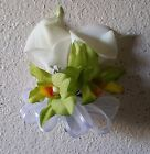 Ivory Real Touch Calla Lily Apple Green Orchid Corsage or Boutonniere