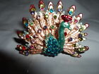 LARGE PEACOCK BIRD RING GREEN AQUA RED AUSTRIAN CRYSTALS GOLDTONE SIZE 9.5 NEW
