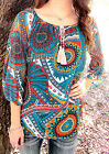 2B Clothing Women's Teal Chiffon Tassle Top 3/4 Sleeve Shirt VICTORIA-792