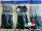 Posate plastica 20 forchette 20 coltelli 20 cucchiai metallizzati monouso party