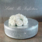 "SILVER DIAMANTE CRYSTAL WEDDING  CAKE STAND  DISPLAY PEDESTAL SPARKLY  10""-22"""