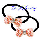 Colorful ABS Pearls & Clear Rhinestones Butterfly Knot Hair Band / Circle Pair