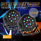 2PCS 18 X 1W LED FLAT PAR STAGE LIGHT SOUND ACTIVE DJ LIGHTING MASTER SLAVE