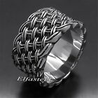 Men's Boy's Elegant Knot 12MM Wide 316L Solid Stainless Steel Band Ring