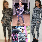 NEW WOMENS ARMY CAMOUFLAGE PRINT CELEB TRACKSUIT LADIES JOGGERS PANTS SWEATER