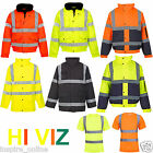 NEW MENS WOMENS HI VIZ VIS VISIBILTY BOMBER CONTRACTOR SECURITY WORK JACKET SIZE