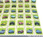 Classical Cars Squares 100% Cotton High Quality Fabric Material *3 Sizes*