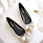 Women's Fashion Crystal Pearl Bowknot Ballet Flats Pointy Toe Casual Shoes 4-12
