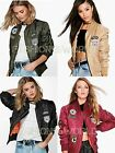 Ladies Womens Retro badged Bomber JACKET Scooter US Army Badges Vintage Coat