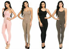 Trendy Soft Cotton Spaghetti Strap Unitard Bodysuit Popular Catsuit Sleeveless