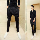 Mens Black Stretchy Waist Low Rise Baggy Casual Harem Pants Performance Trousers