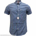 BEN SHERMAN Men's S/S Check Shirt Cotton B/D Collar Blue/Black Sizes: S - XL
