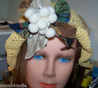 Hand Crochet Lacy Flapper Cloche Beanie Sun Hats Flared OOAK New