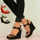 NEW WOMENS WEDGES LADIES HIGH HEEL PLATFORM ANKLE STRAP SANDAL SHOES SIZE UK 3-8