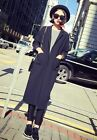Retro Womens Casual British Black Suit Long Trench Coat Cardigan Jacket Outwear