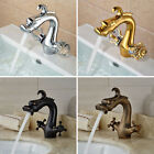 New Dual Handles Bathroom Basin Faucet Dragon Shape Sink Mixer Tap Deck Mounted
