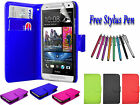 PU Leather Side Open Book Flip ID Wallet Case Cover Holder For HTC ONE M8 UK