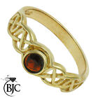 BJC® 9ct Yellow gold Garnet Round Celtic Solitaire Band Ring size N ring R132