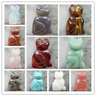 Carved Mixed Gemstone Cat Figurine Decoration Please Select Stone Or Size LXJ-91