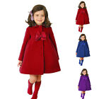 Kids Girls Winter Wool Blended Outerwear Long Trench Wind Coat Jacket Exquisite