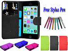 PU Leather Side Open Book Flip Wallet ID Holder Case Cover For Apple iPhone 4 4S