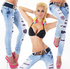 Sexy Women's Wash Blue Skinny Slim Stretchy Jeans Trousers  Incl. Belt H 005
