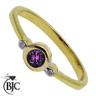 BJC® 9ct Yellow gold Amethyst & Diamond Trilogy 3-stone engagement ring R252