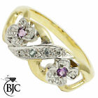 BJC® 9ct Yellow gold Amethyst Blue topaz & Diamond Cluster Flower ring R266