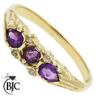BJC® 9ct Yellow gold Amethyst & Diamond Trilogy Three Stone ring R269