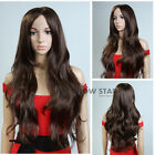 Fashion Women Long Wavy Wig Synthetic Hair Wigs with Middle Part Bangs Full Wigs