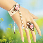 New Fashion Rose White Lace Bracelet With The Ring And Hand Chain Retro Jewelry