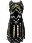 Ladies Vintage Gatsby Dress Tunic Top Evening 1920's Shift Dress Size 8 to 20