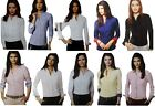 New Womens Formal Work Office Casual Regular Fit Shirt Contrast Collar Cuff
