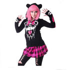 KILLER PANDA MASCARA HOOD LADIES GOTHIC BLACK POIZEN PINK HOODIE PAWS NEW EARS