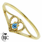 BJC® 9ct Yellow gold Blue Topaz Solitaire Heart size N engagement ring R220