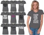 60 DESIGNS Mother's Day Women V-neck T-shirt Mom's Gift CHARCOAL - 5