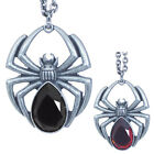 Black Widow Spider Pendant Necklace Gothic Punk Gemstone Body Arachnid