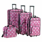 Rockland Luggage F46 Dots 4 Piece Expandable Rolling Luggage Set