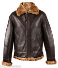 Men's RAF Aviator B3 Ginger Shearling Sheepskin WW2 Leather Brown Flying Jacket