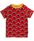 BNWT Boys Girls Maxomorra Owl Short Sleeved T-Shirt NEW Organic Cotton Top Red