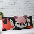 """Red Black Melody Love Decor Pillow Case Cushion Cover Square 17"""" Wedding Gift"""