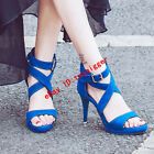 Elegant Womens Faux Suede Open Toe Mary Janes Roma Sandals High Heels Sexy Pumps