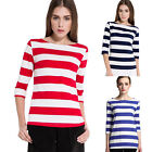 New Comfy Women Casual 3/4 Sleeve Striped Casual Loose Shirt T-Shirt Blouse Tops