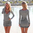 Sexy Ladies Pluge In V Neck Summer Dress Striped Bodycon Mini Skirt Tops