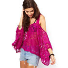 Summer Women Casual Loose Tops Blouse Off Shoulder Lace Top Blouse Fashion A12