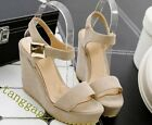 Summer Women Platform Wedge Heel Velcro Faux Suede Round Toe Sexy Clubwear Shoes