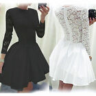 Ladies Vintage Long Sleeve Lace Evening Formal Cocktail Party Mini Dress Top UK